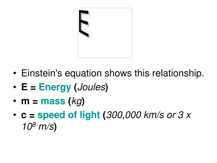 Einstein's equation shows this relationship.