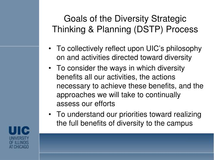 Goals of the Diversity Strategic Thinking & Planning (DSTP) Process