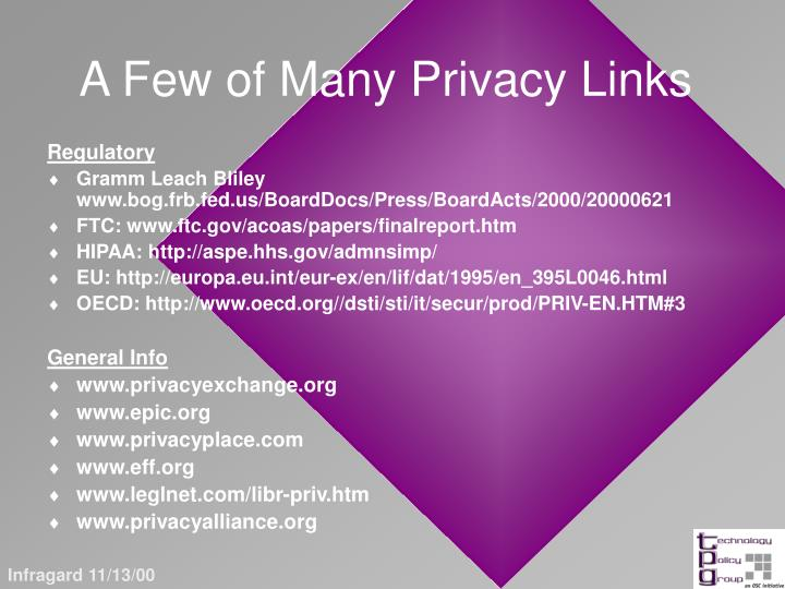 A Few of Many Privacy Links