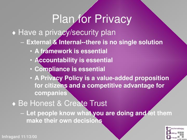 Plan for Privacy