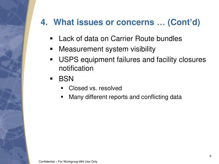 What issues or concerns … (Cont'd)
