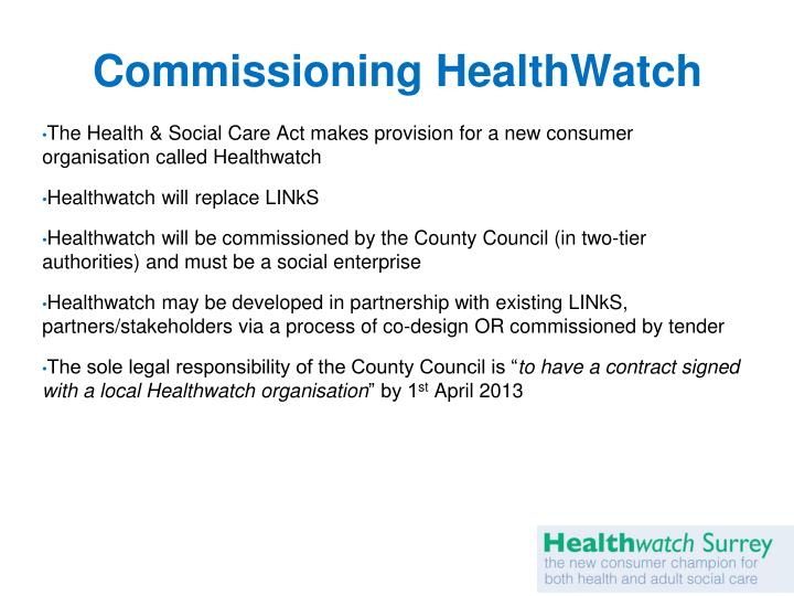 Commissioning healthwatch