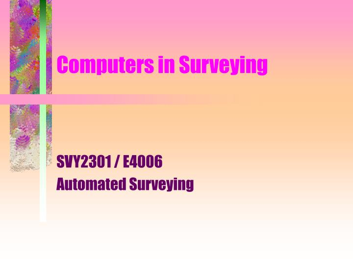 computers in surveying n.