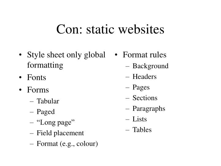 Style sheet only global formatting