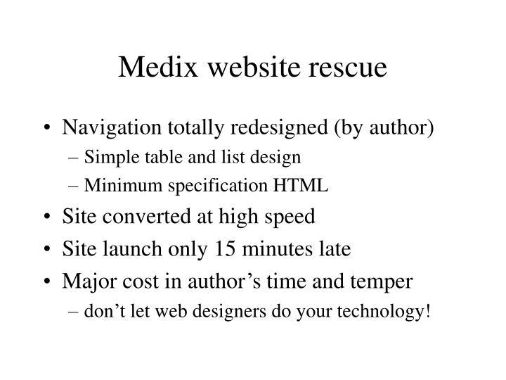 Medix website rescue