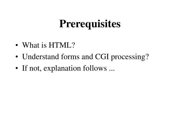 Prerequisites