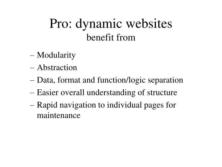 Pro: dynamic websites
