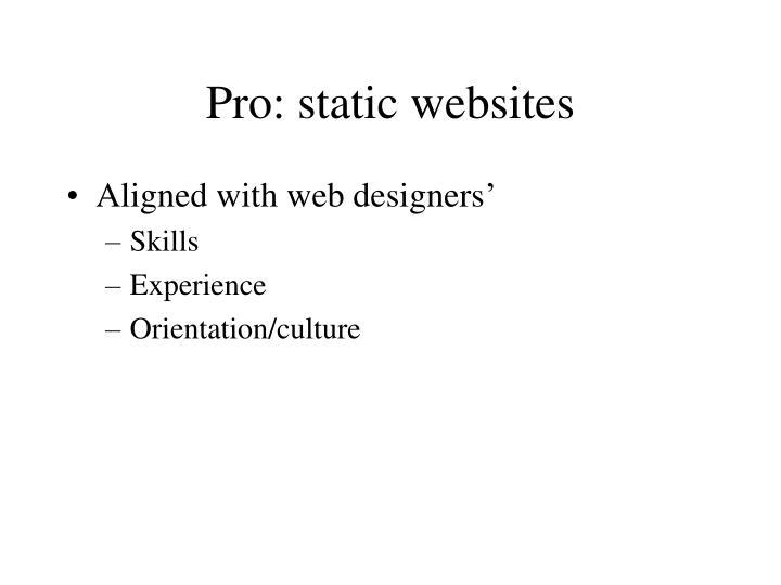 Pro: static websites
