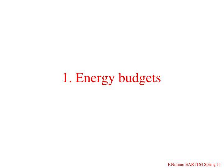 1. Energy budgets