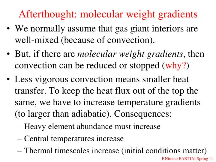 Afterthought: molecular weight gradients