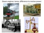 steam engines temp difference to motive power