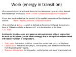 work energy in transition