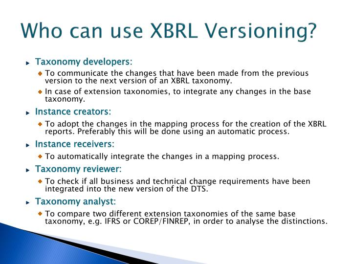 Who can use XBRL Versioning?