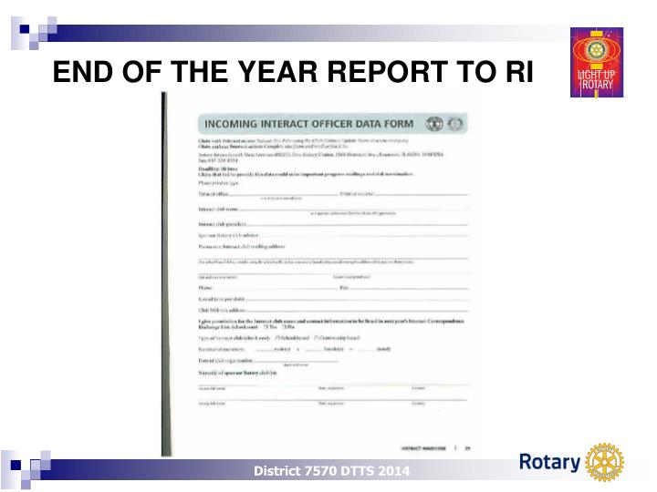 END OF THE YEAR REPORT TO RI