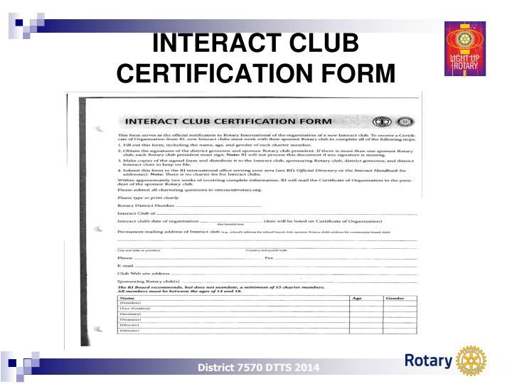 Interact club certification form