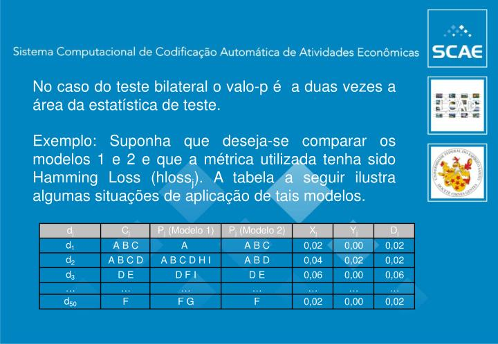 No caso do teste bilateral o valo-p é  a duas vezes a área da estatística de teste.
