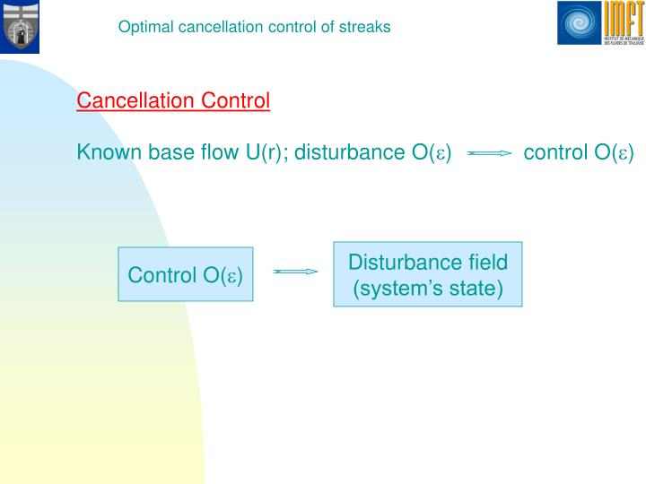 Optimal cancellation control of streaks