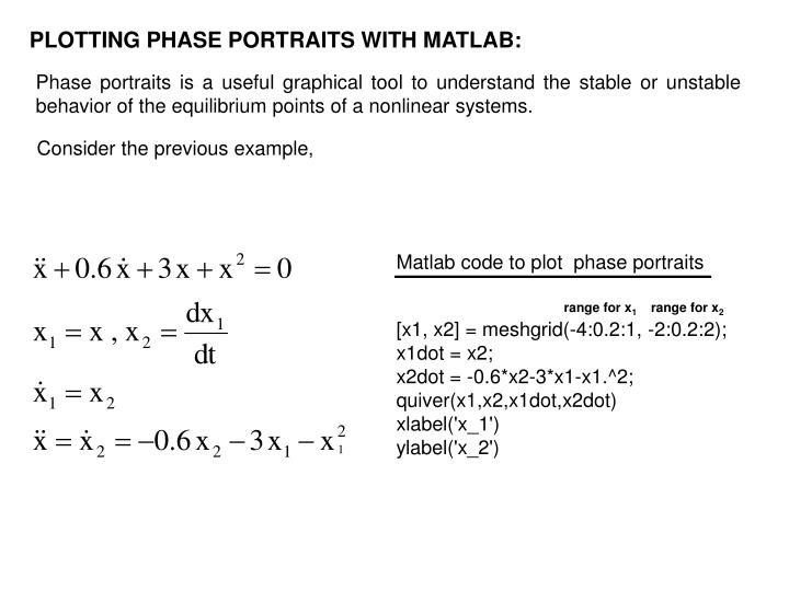 PPT - PLOTTING PHASE PORTRAITS WITH MATLAB: PowerPoint