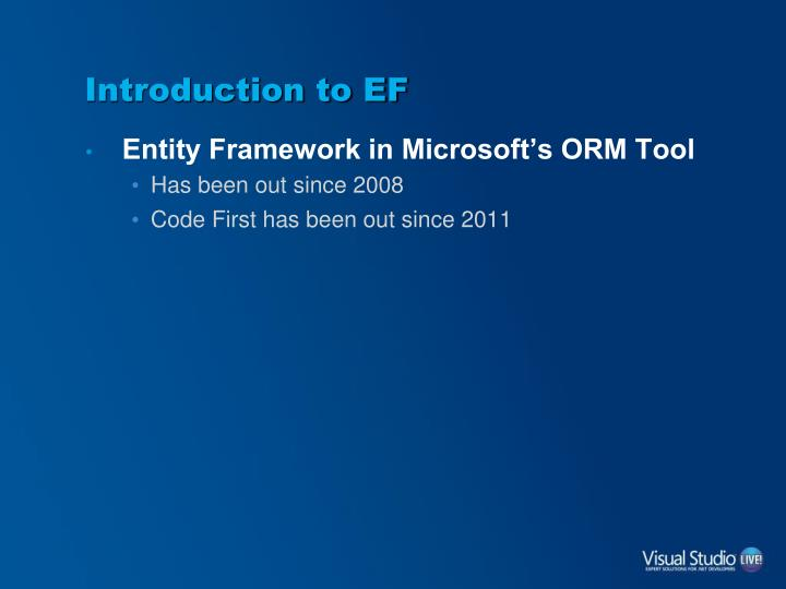 Introduction to ef