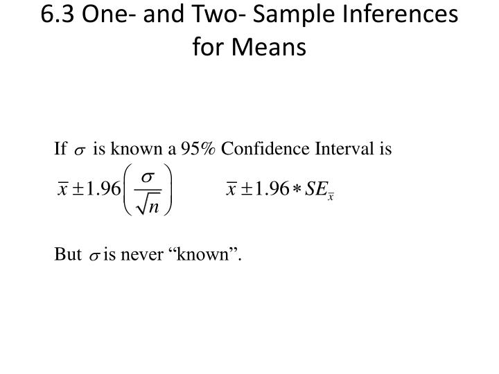 6 3 one and two sample inferences for means n.