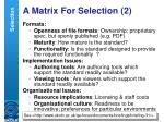 a matrix for selection 2