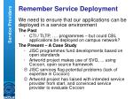 remember service deployment