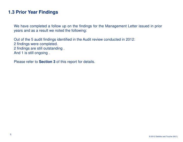 1.3 Prior Year Findings