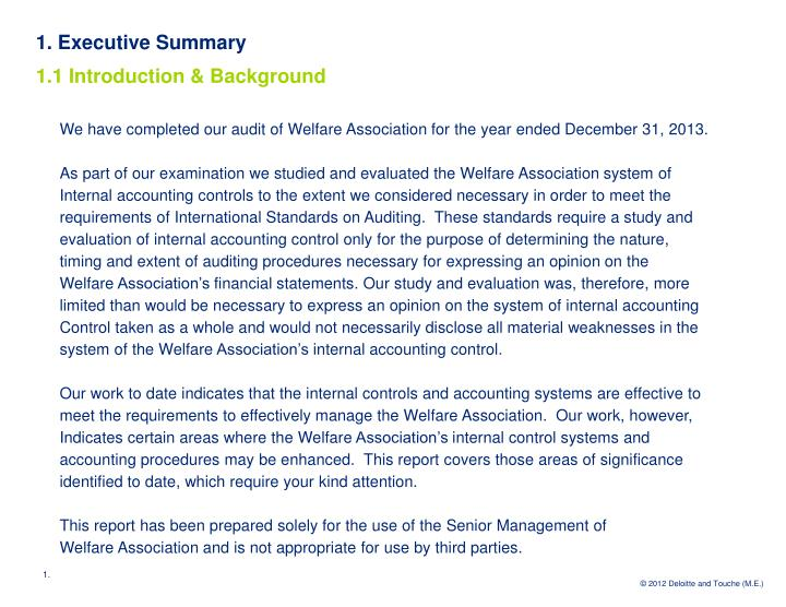 1 executive summary 1 1 introduction background