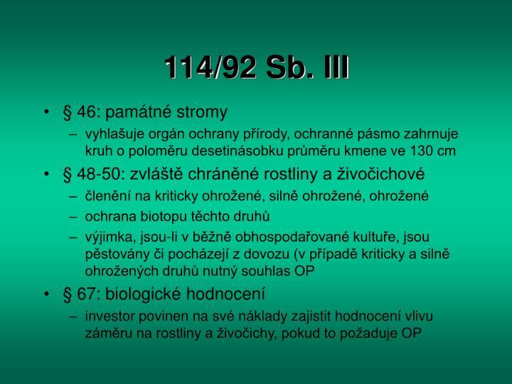 114/92 Sb. III