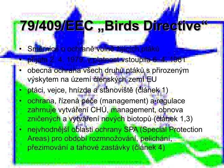 """79/409/EEC """"Birds Directive"""""""