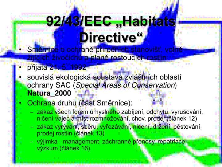 """92/43/EEC """"Habitats Directive"""""""