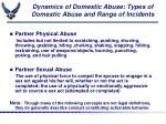 dynamics of domestic abuse types of domestic abuse and range of incidents