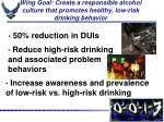 wing goal create a responsible alcohol culture that promotes healthy low risk drinking behavior