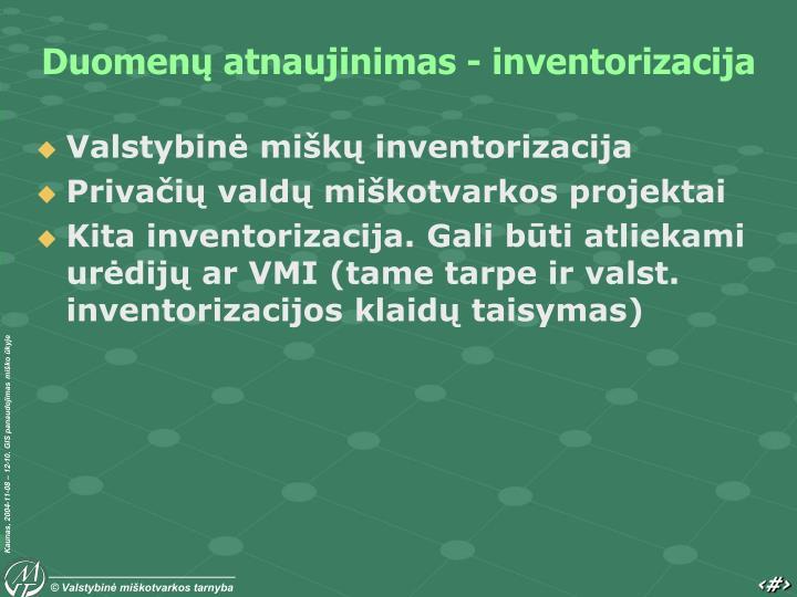 Duomenų atnaujinimas - inventorizacija