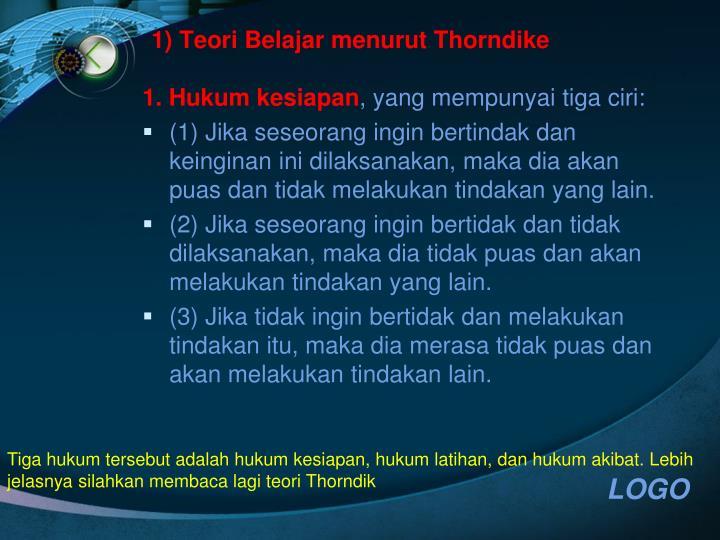 1) Teori Belajar menurut Thorndike