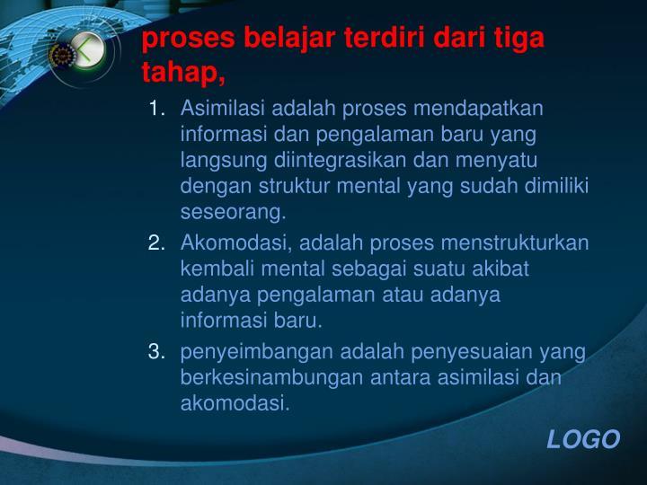 proses belajar terdiri dari tiga tahap,
