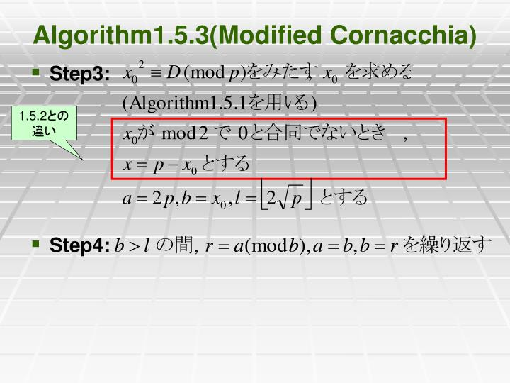 Algorithm1.5.3(Modified Cornacchia)