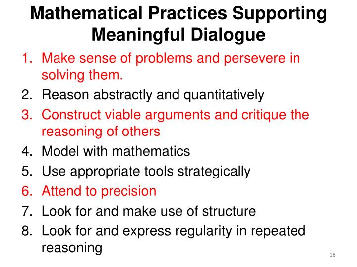 Mathematical Practices Supporting Meaningful Dialogue