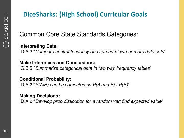 DiceSharks: (High School) Curricular Goals