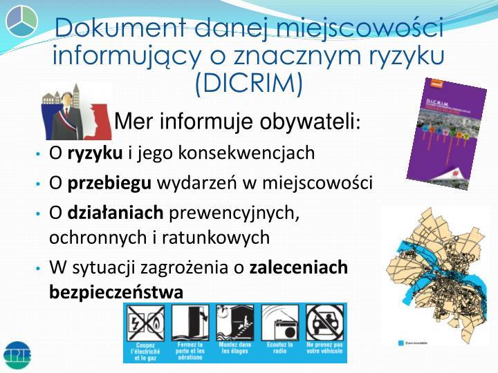 Dokument danej miejscowości informujący o znacznym ryzyku (DICRIM