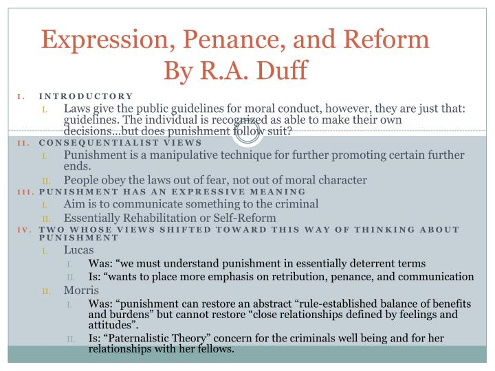 Expression penance and reform by r a duff