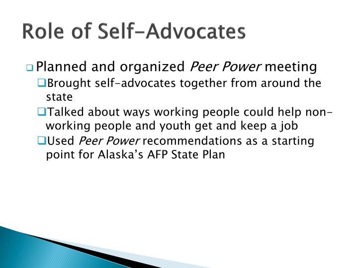 Role of Self-Advocates