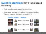 event recognition key frame based matching