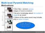 multi level pyramid matching motivations