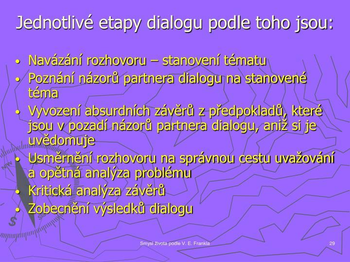 Jednotlivé etapy dialogu podle toho jsou: