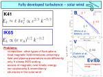 fully developed turbulence solar wind