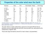 properties of the solar wind near the earth