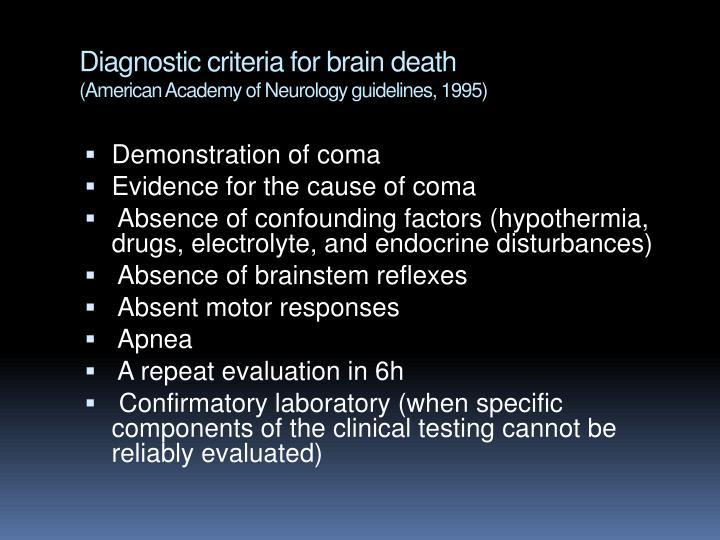 Diagnostic criteria for brain death