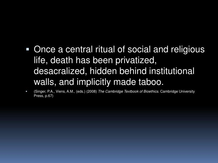 Once a central ritual of social and religious life, death has been privatized, desacralized, hidden ...