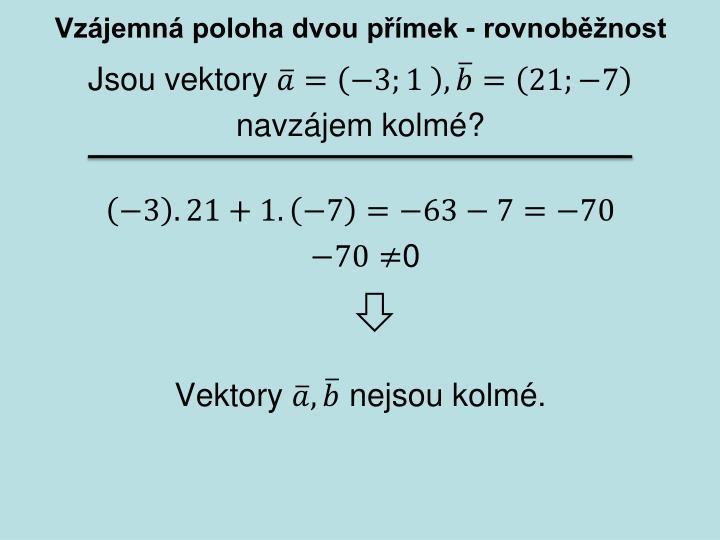 Vzájemná poloha dvou přímek - rovnoběžnost